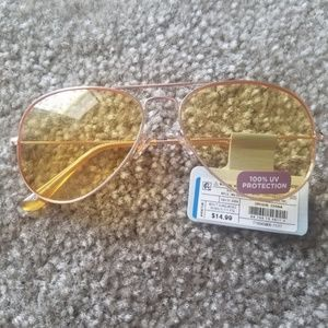 Aviators With Yellow Lenses and Gold Frames NWT